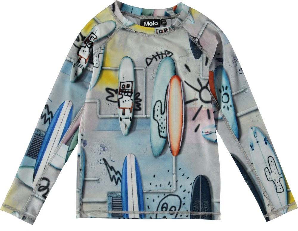 Neptune LS - Summer Walls - UV rash guard with surfboards.