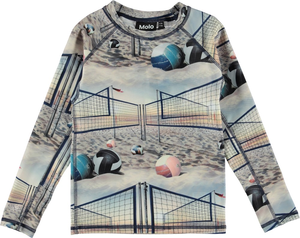 Neptune LS - Volleyball Sunset - UV rash guard with beach.