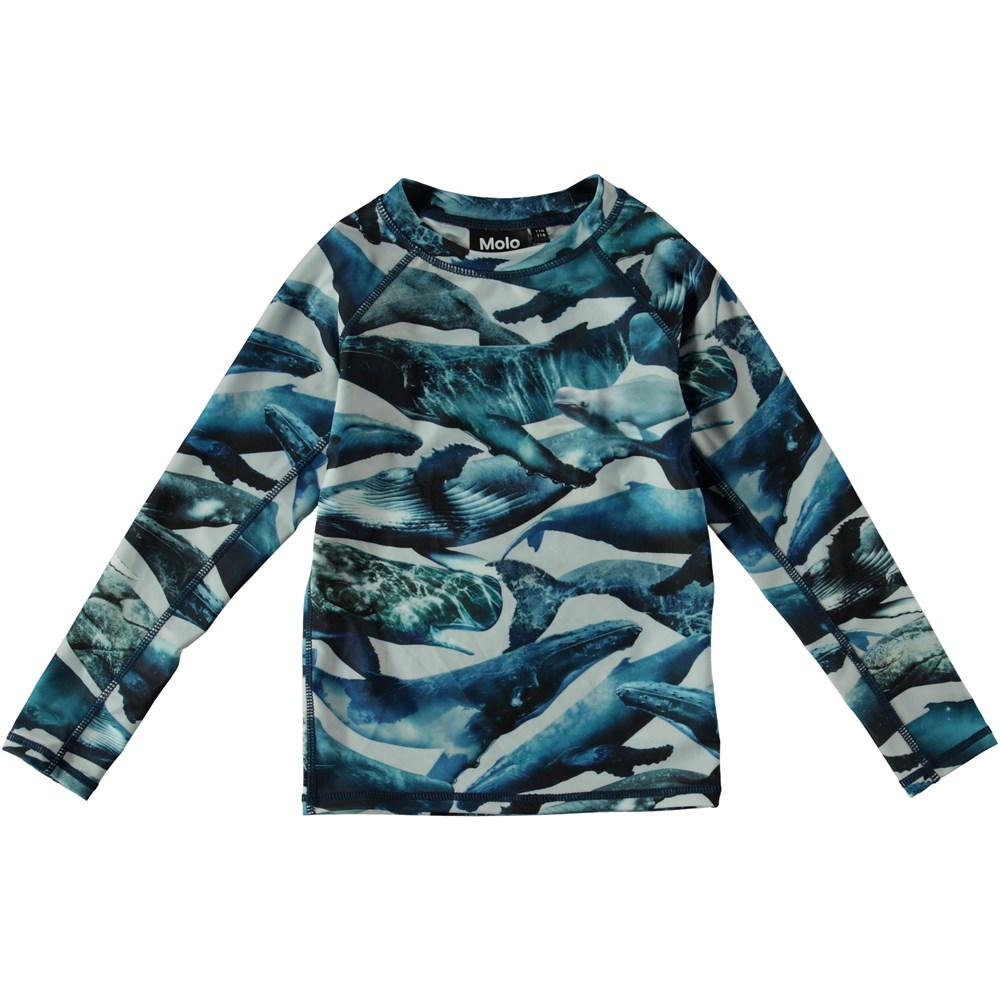 Neptune LS - Whales - Long sleeve rash guard with whales