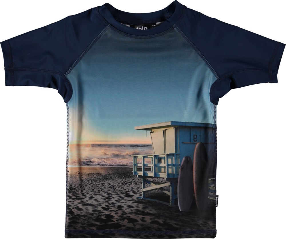 Neptune - On The Beach - Blue UV rash guard