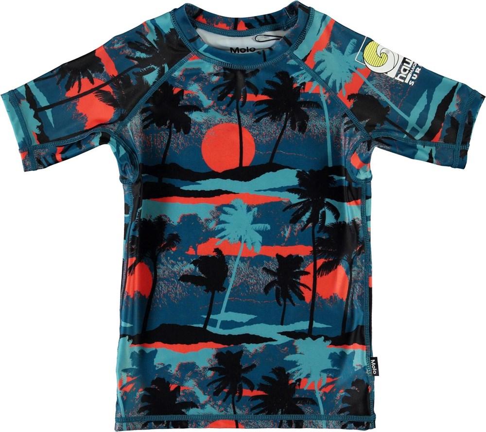 Neptune - Palm Trees Blue - UV rashguard with blue palm trees