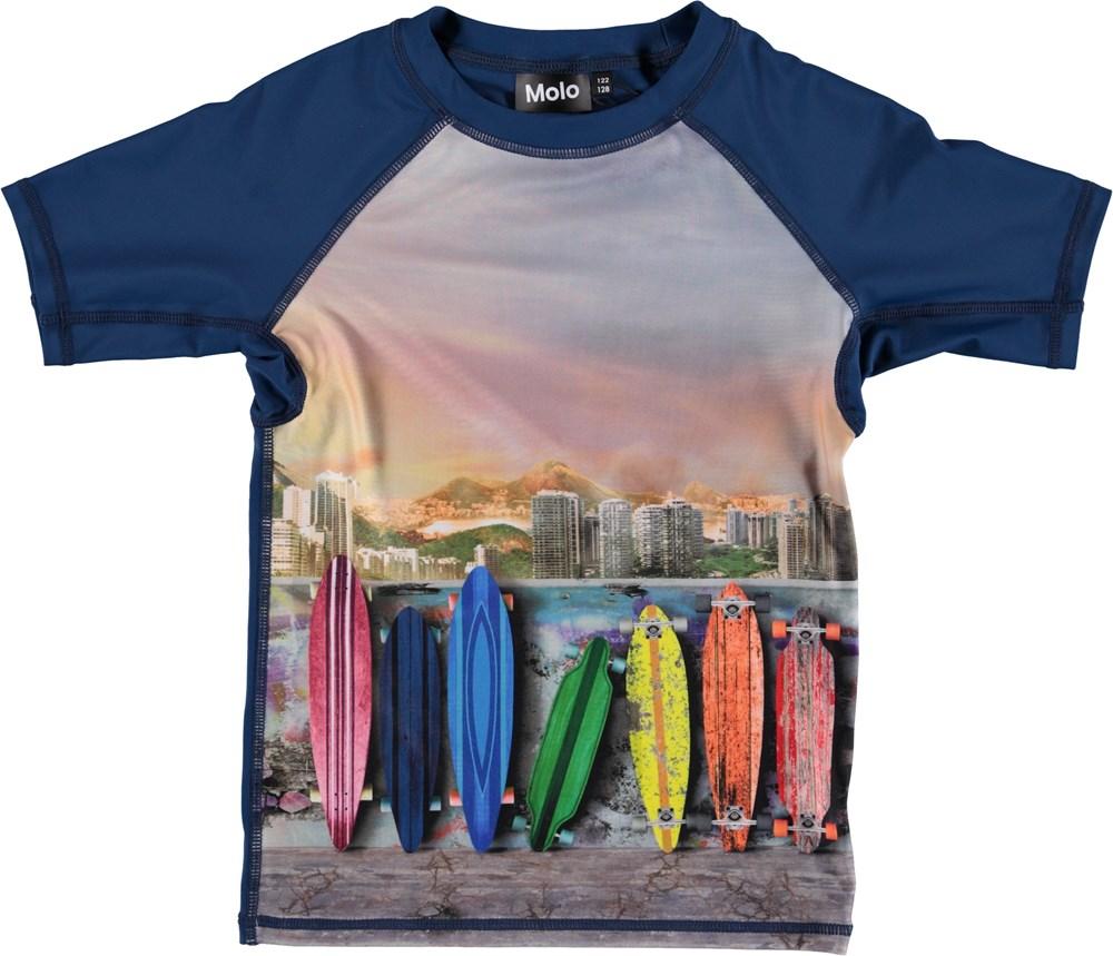 Neptune - Rainbow Boards - UV rashguard with surfboards