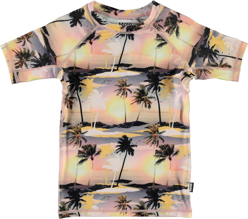 Neptune - Sunset - UV rashguard with palm trees