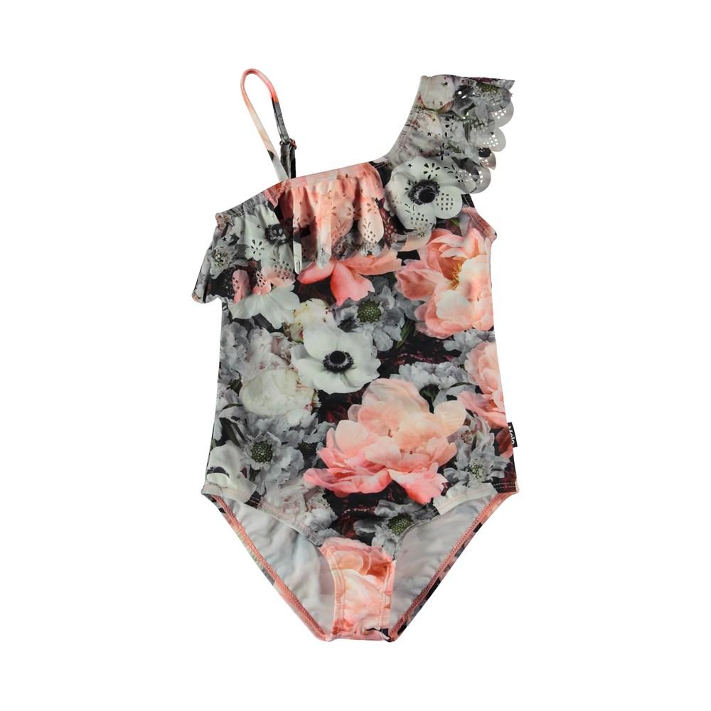 Net - Blossom - Asymmetrical flower swimsuit with a diagonal ruffle