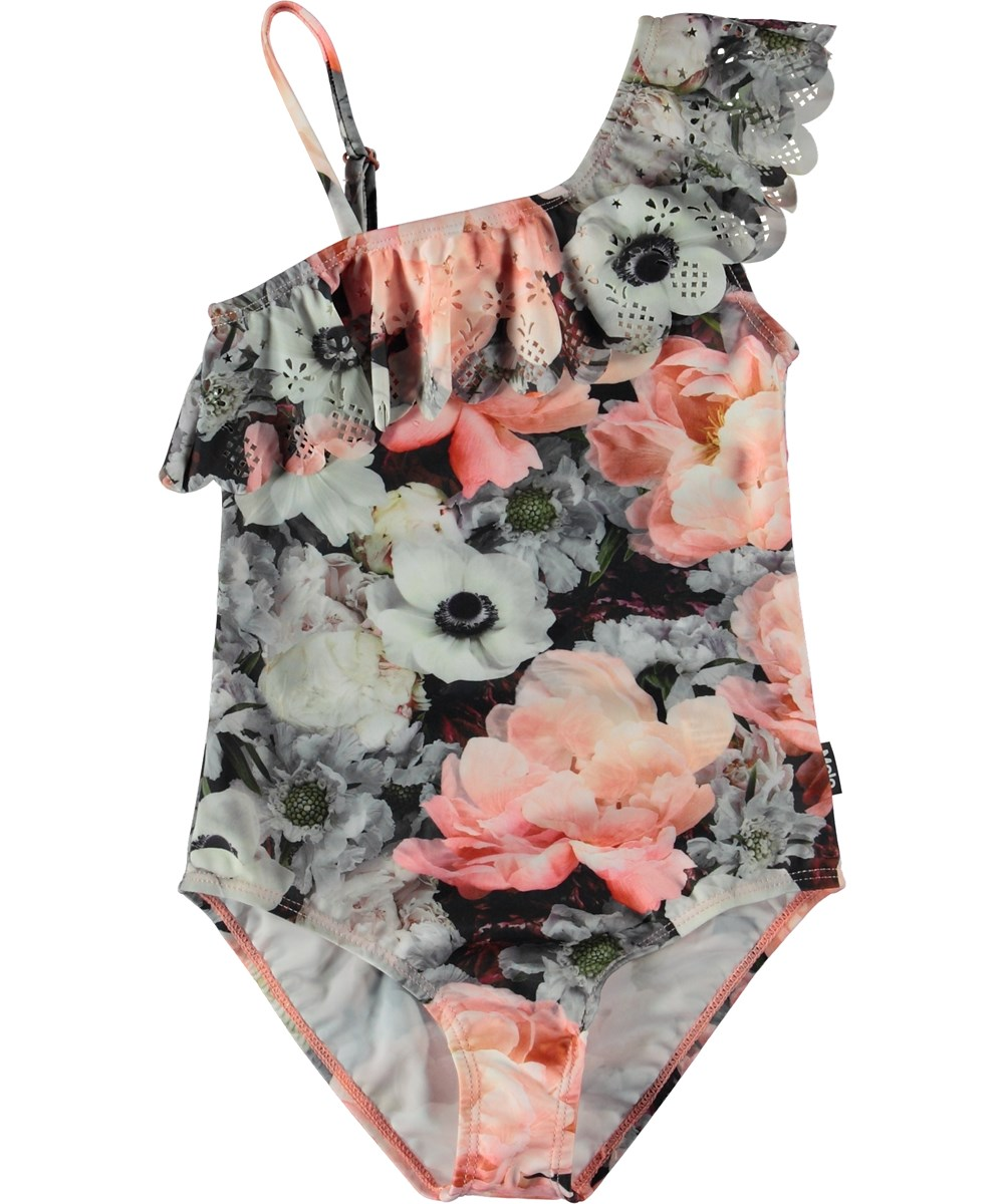 Net - Blossom - Asymmetrical flower swimsuit with a diagonal ruffle