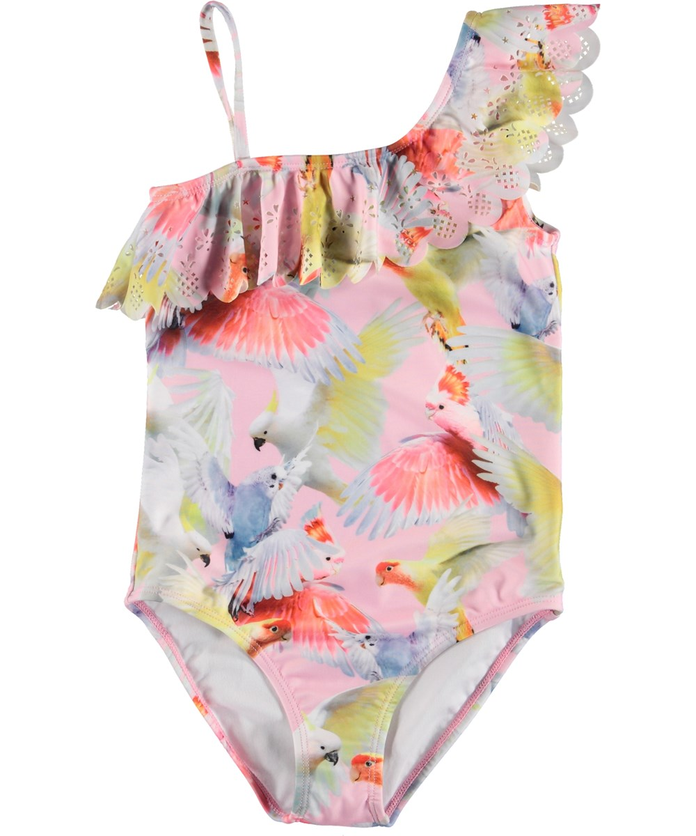 Net - Cockatoos - UV swimsuit with parrot print and ruffles