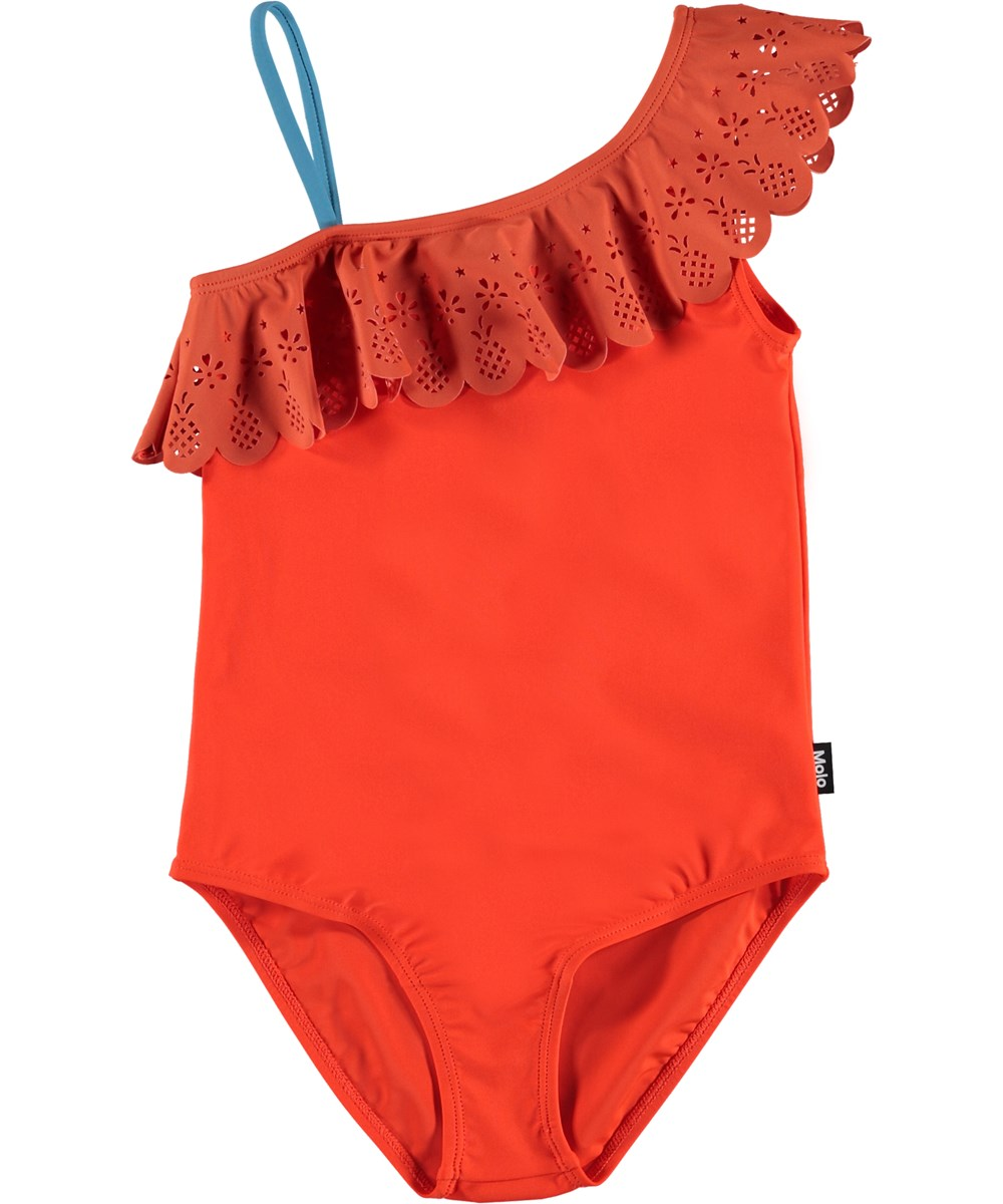 Net - Coral Red - Red UV swimsuit with ruffles