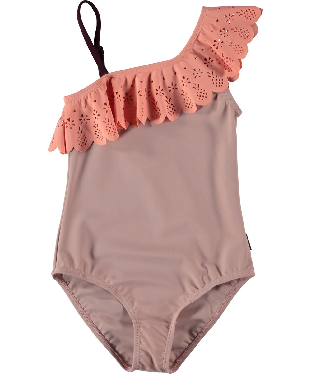 Net - Rose Sand - Asymmetrical swimsuit with a diagonal ruffle