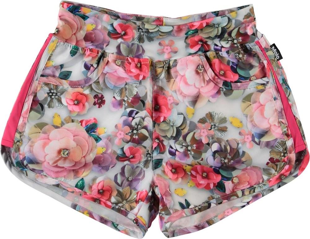 Neva - Sequins Flowers - UV swim trunks with flowers