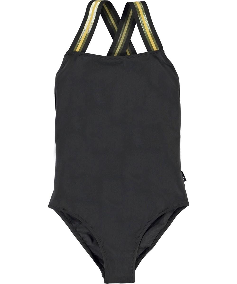 Neve - Black - Black UV swimsuit with striped straps