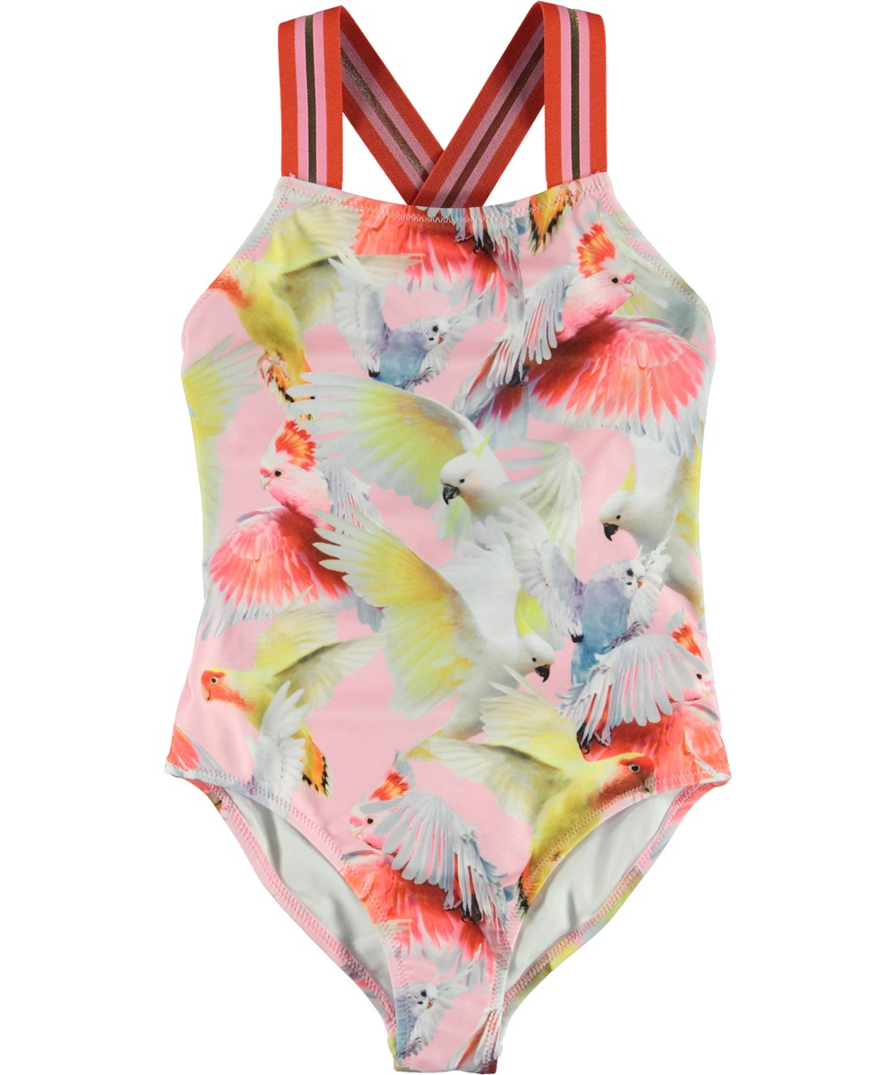 Neve - Cockatoos - UV swimsuit with parrot print