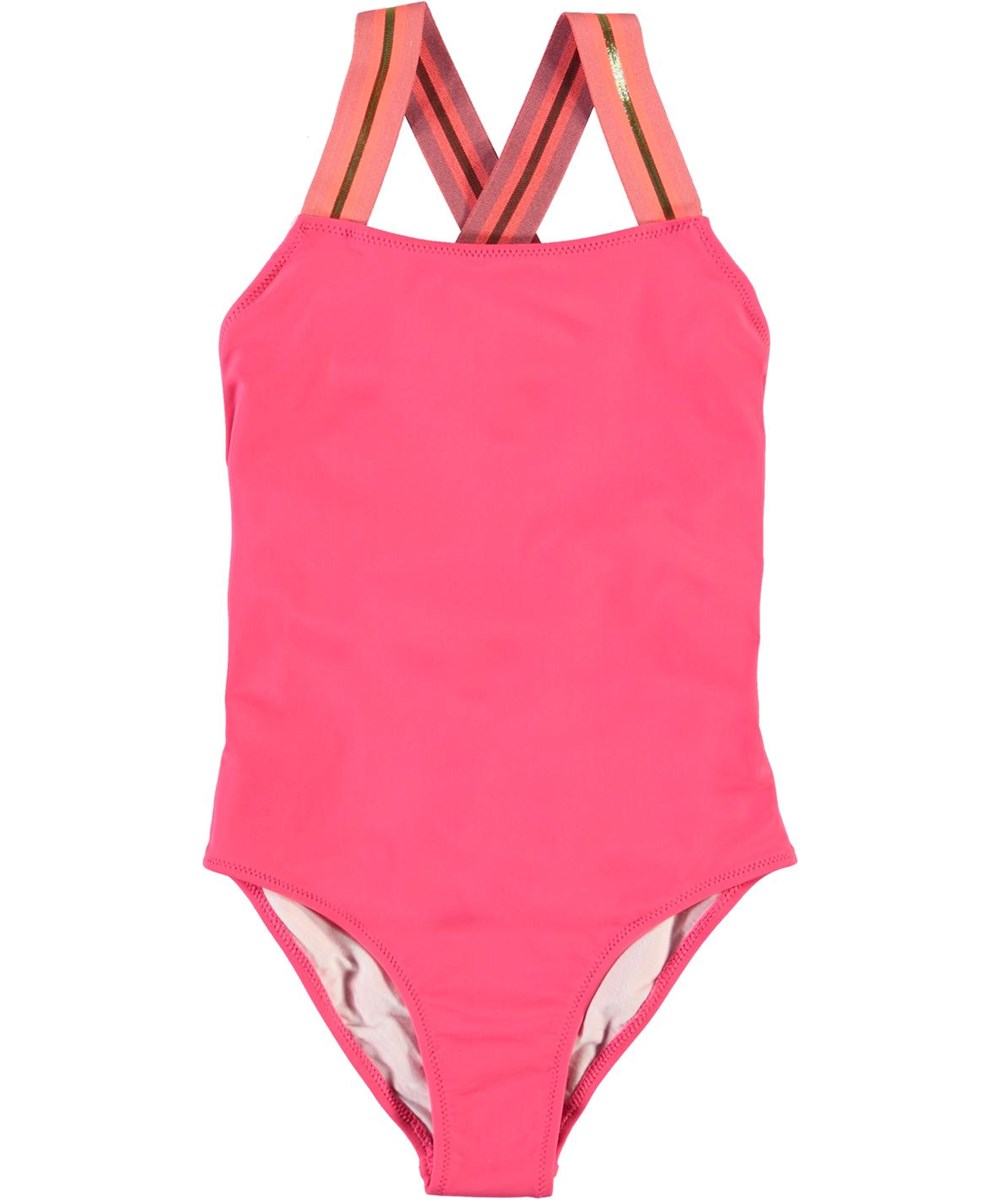 Neve - Rasberry - UV swimsuit with striped straps