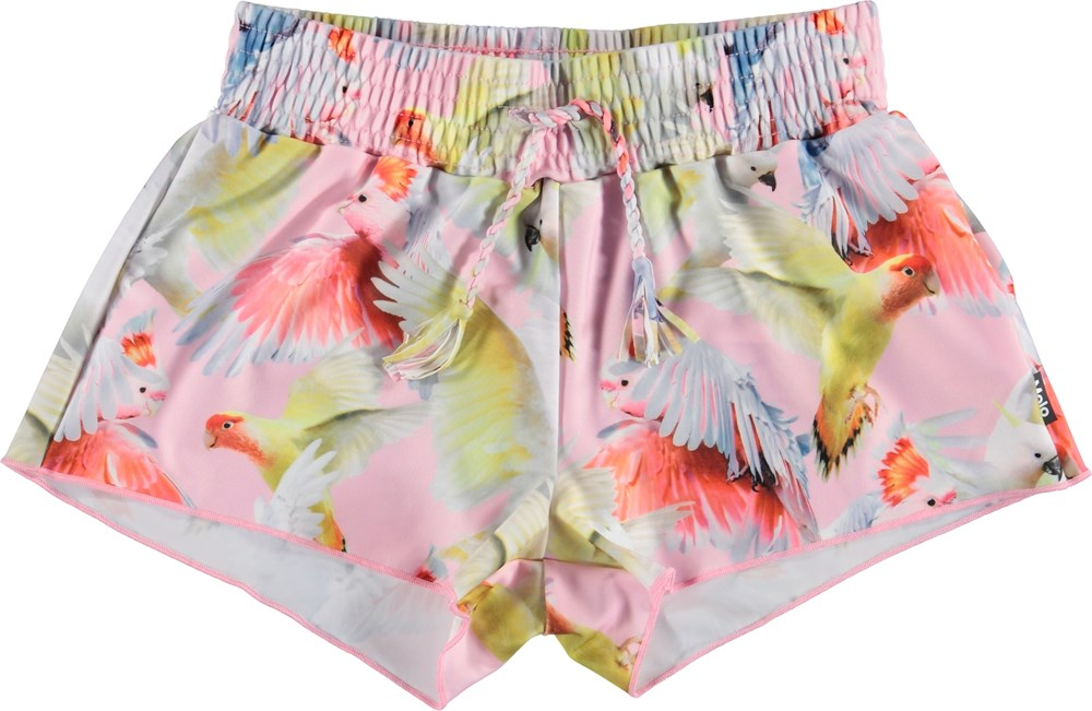 Nicci - Cockatoos - Pink UV swim trunks with parrots