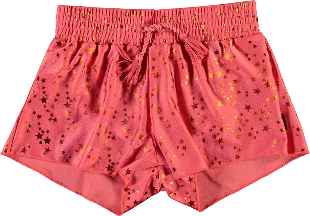 Nicci - Copper Star - UV swim shorts in coral red with stars