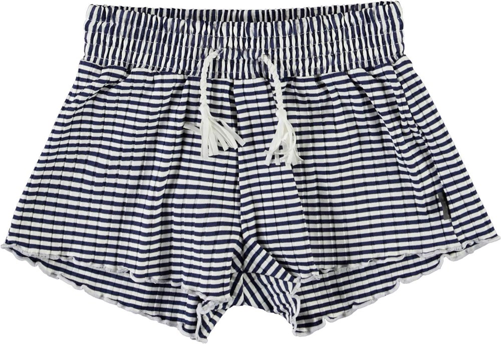 Nicci - Navy Stripe - Blue and white striped swim trunks