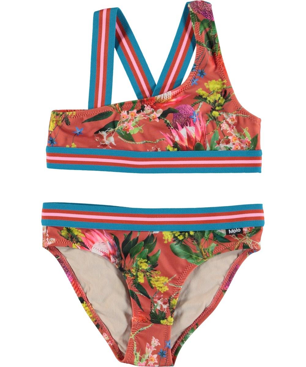 Nicola - Australian Flowers - Flower UV bikini with striped straps