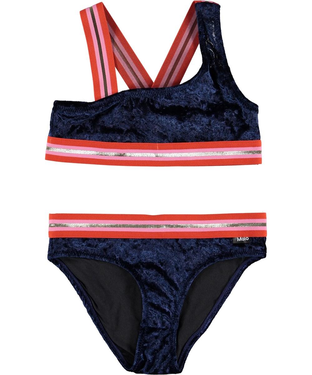 Nicola - Classic Navy - Blue velour UV bikini