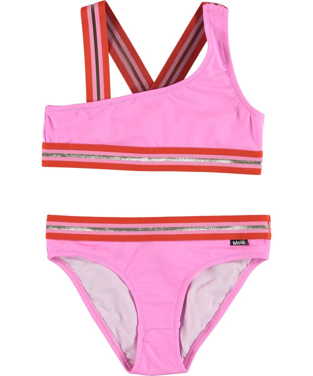 Nicola - Fuchsia Pink - Pink UV bikini with striped straps