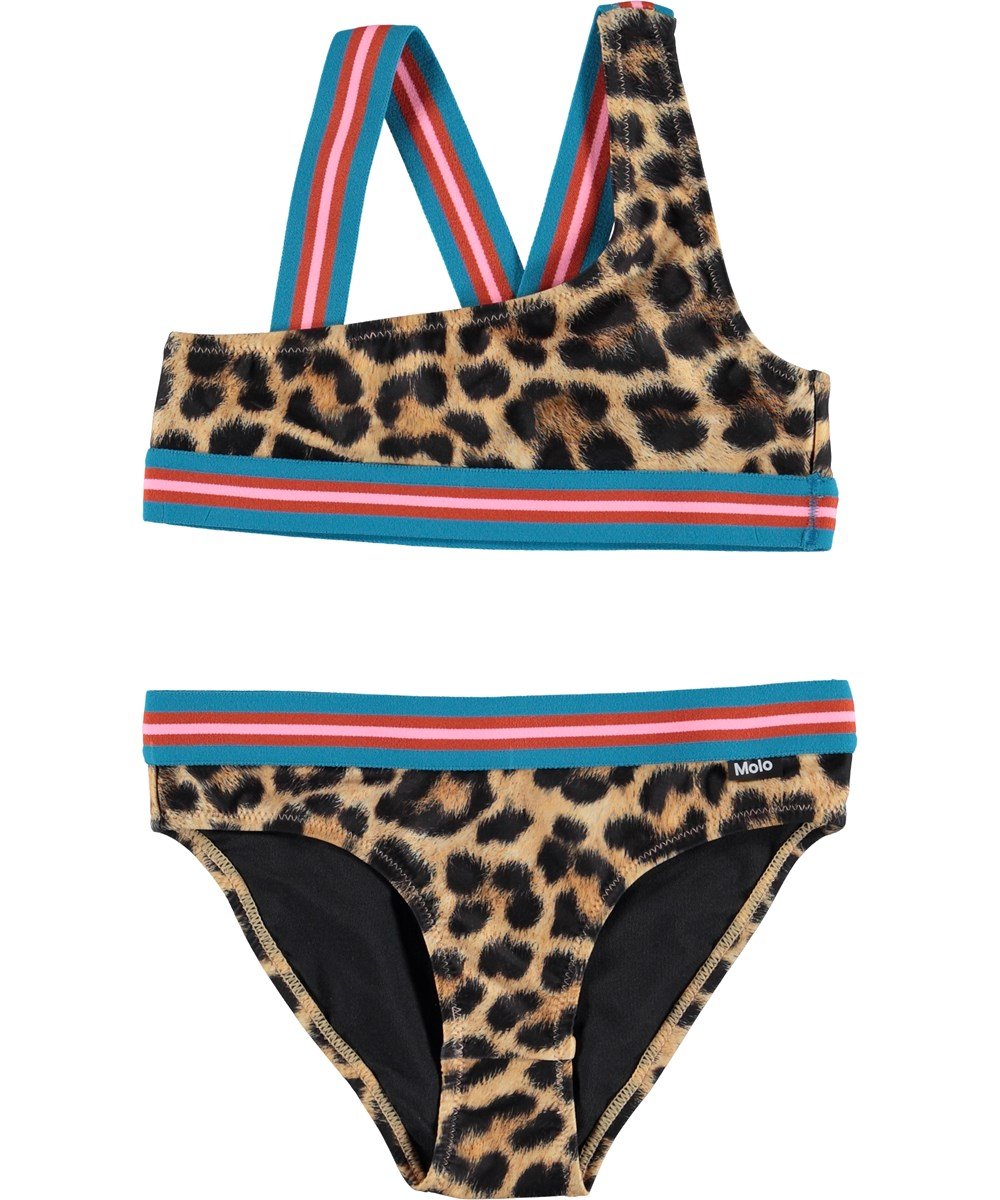 Nicola - Jaguar - UV bikini in leopard print with striped straps