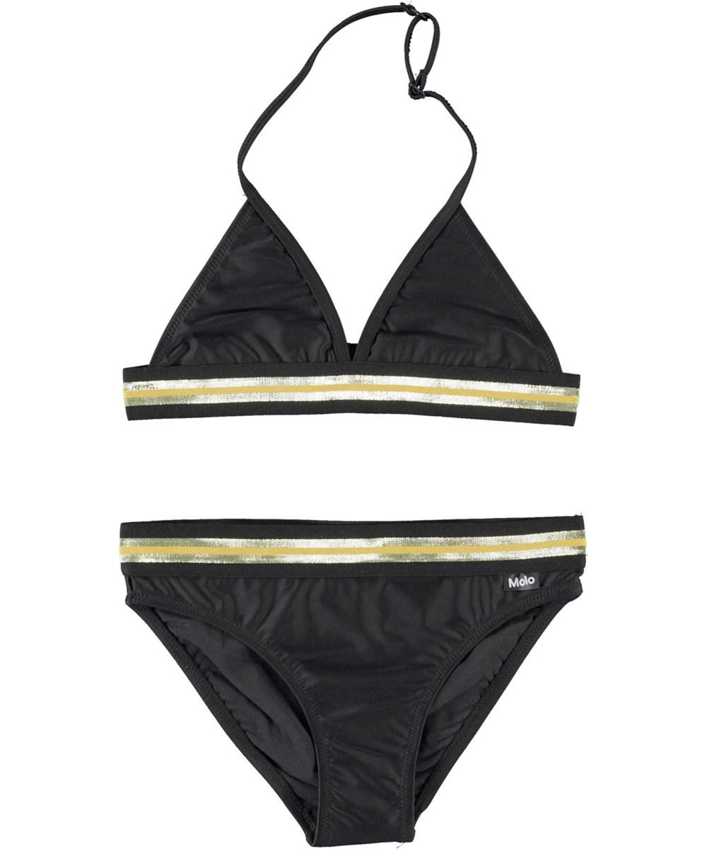 Nicoletta - Black - UV triangle bikini with gold edge