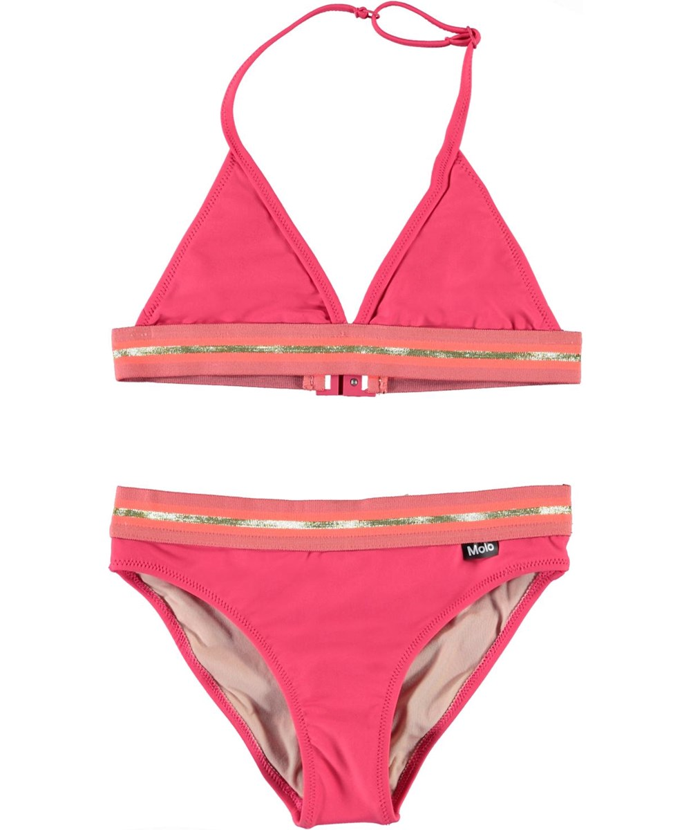 Nicoletta - Rasberry - UV triangle bikini with gold edge