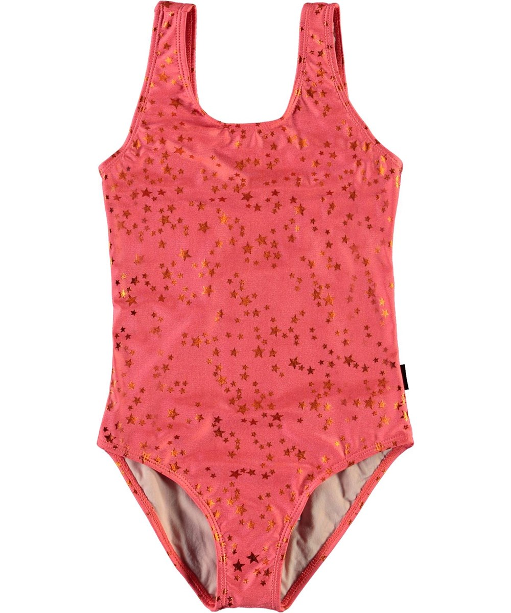 Nika - Copper Star - UV swimsuit in coral red with stars