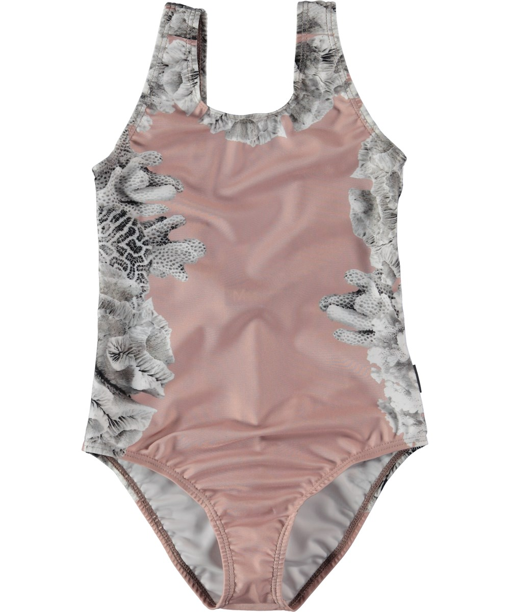 Nika - Coral Placed - Pink Swimsuit with coral.