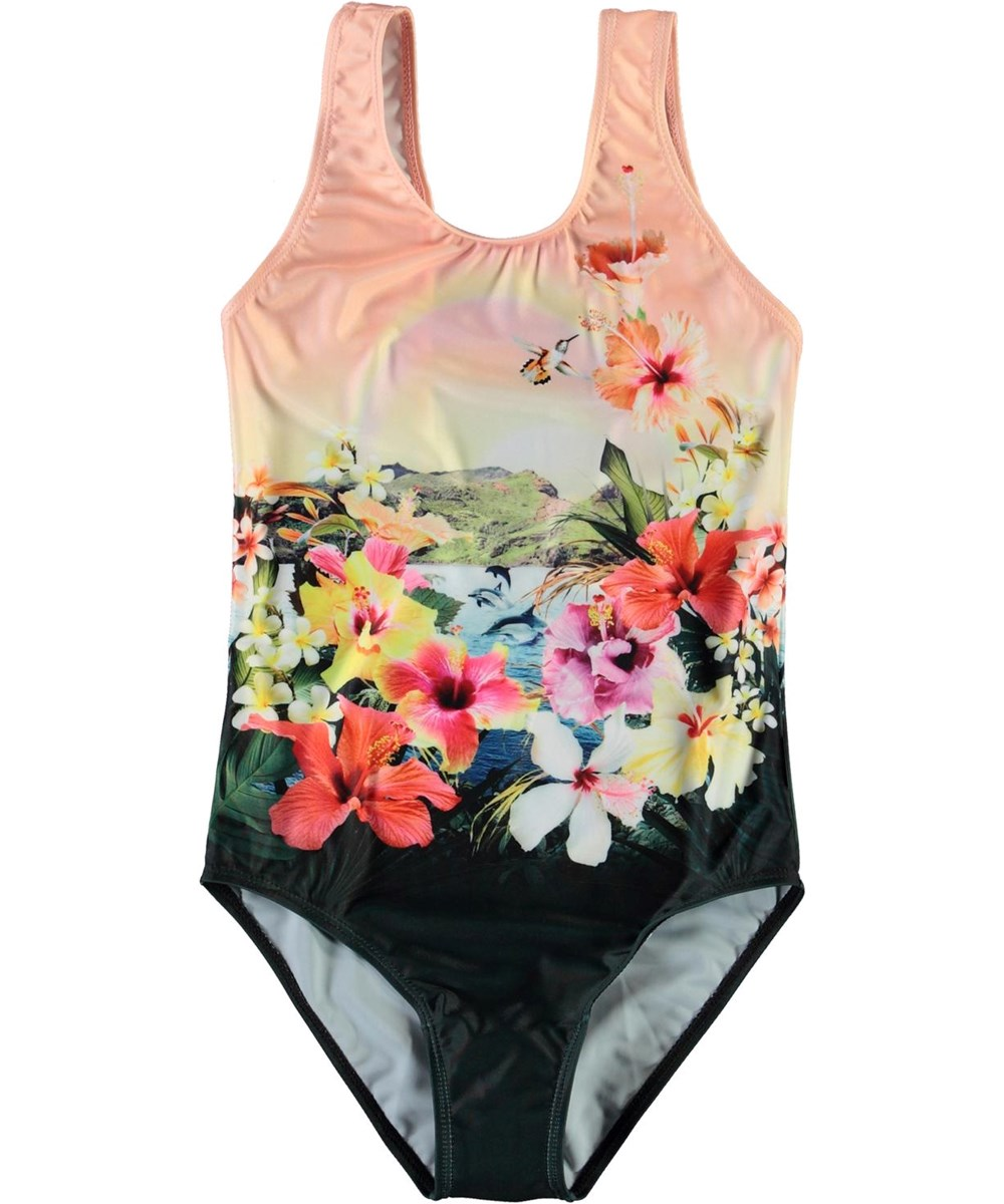 Nika - Dreamy Hawaii - UV swimsuit with flowers and dolphins