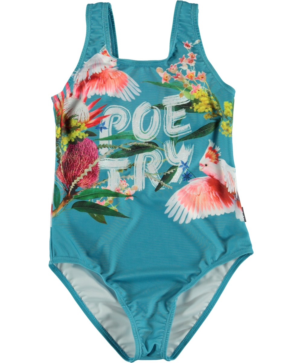 Nika - Flowers - Blue classic UV swimsuit with birds and flowers