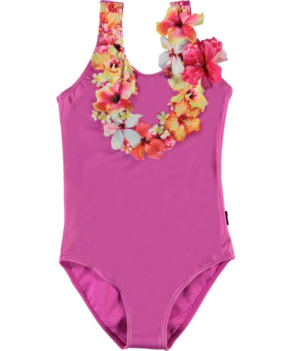 Nika - Hawaii Flower - UV fuchsia swimsuit with flowers