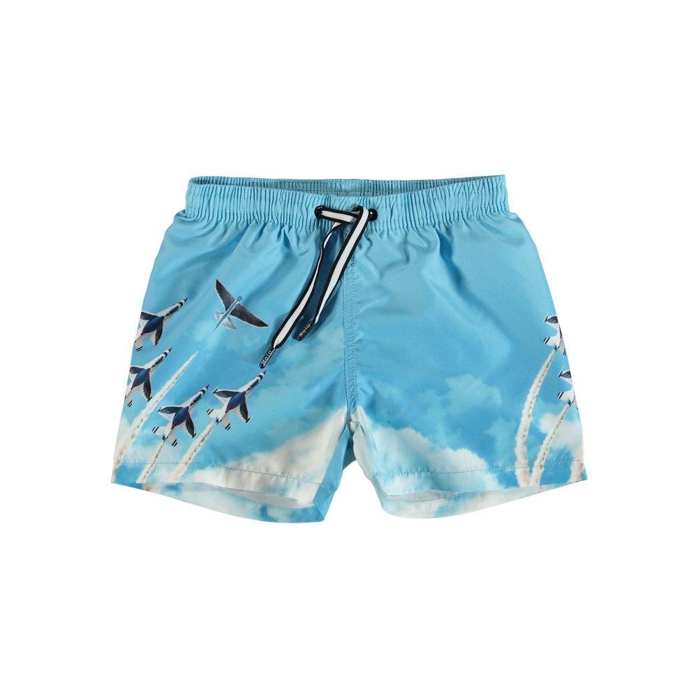 Niko - Air Show - Light blue swim trunks with airplane