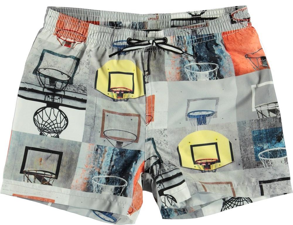 Niko - Basket Check - UV swim trunks with basketball print