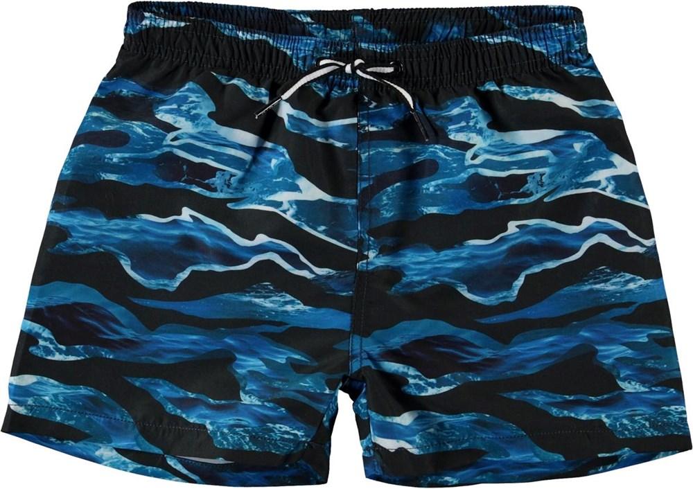 Niko - Camo Waves - UV swim trunks with wave print