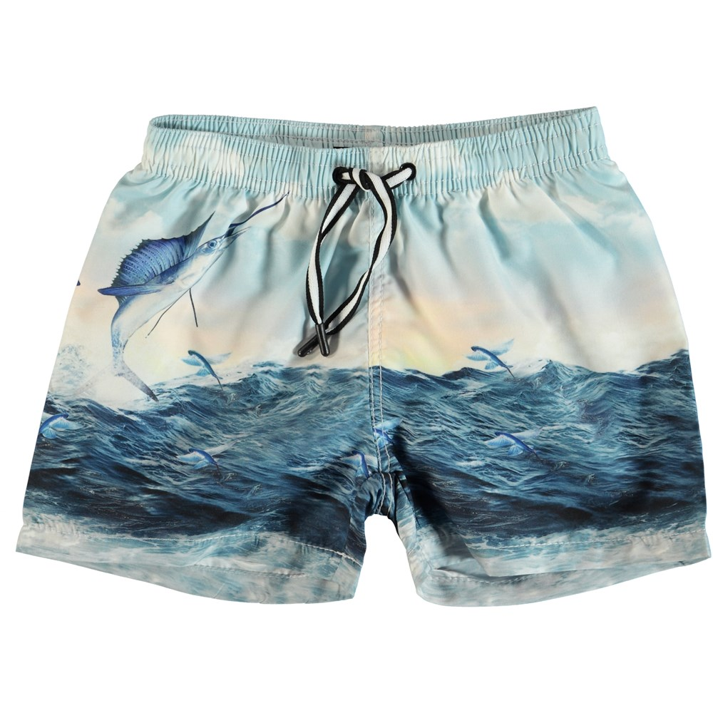 Niko - Catch - Swim trunks with swordfish print.