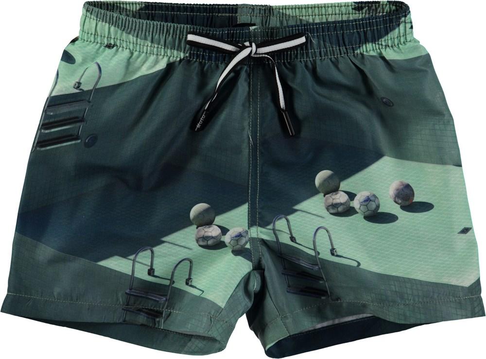 593adefd2c Niko - Graphic Pools - Short swim shorts with digital pool print - Molo