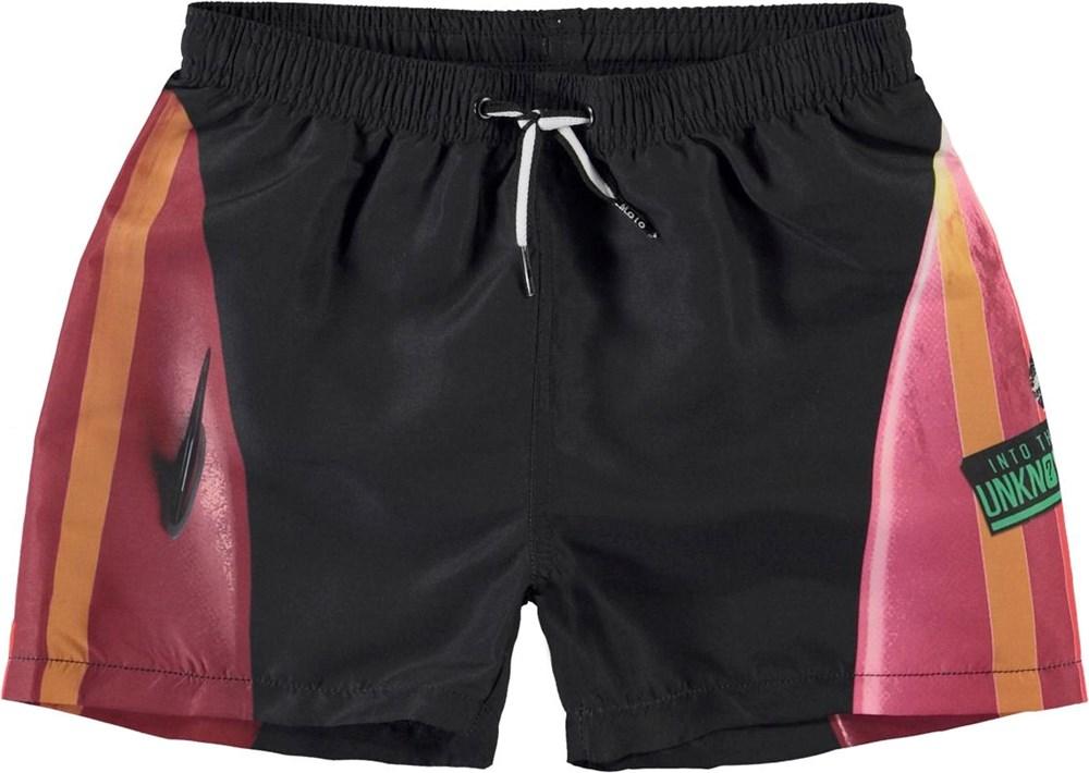Niko - Hawaiian Surf - Black UV swim trunks with print