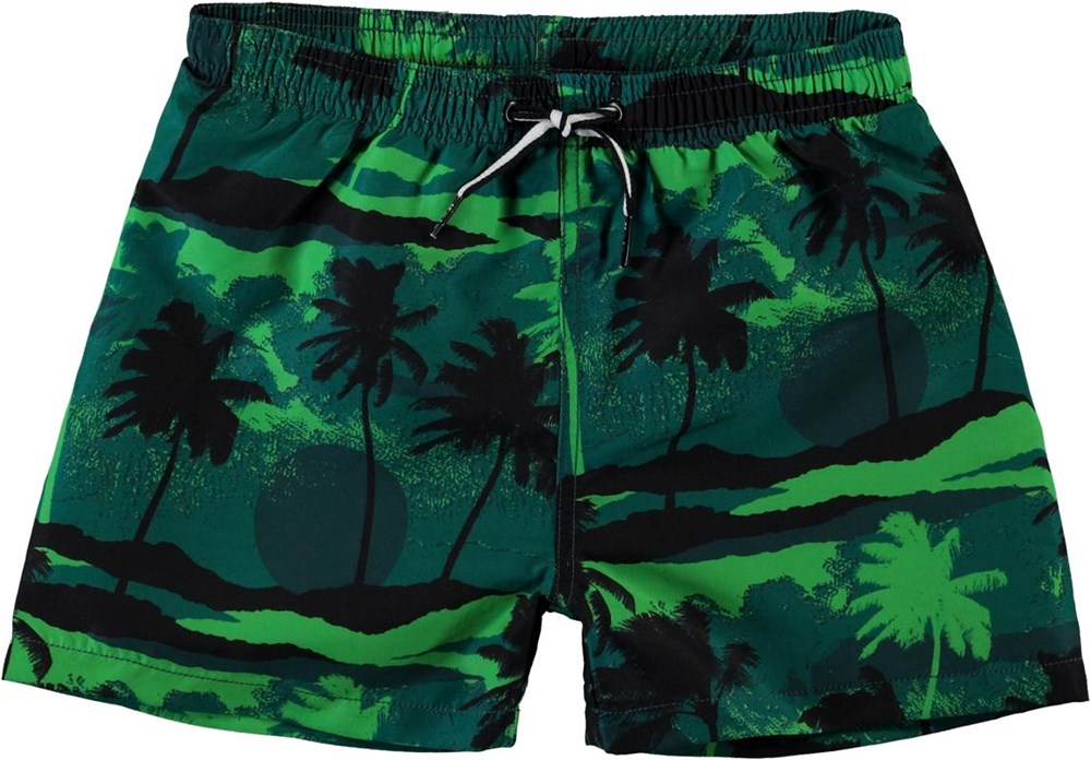 Niko - Palm Trees Green - Green UV swim trunks with palm tree print