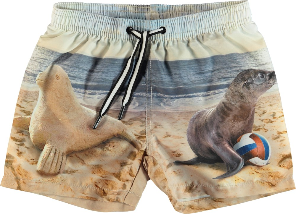 Niko - Play With Me - Swim trunks with seal print.