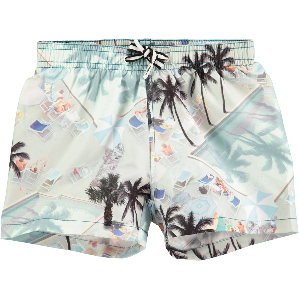 Niko - Swimmingpools - short swim trunks with swimming pool print