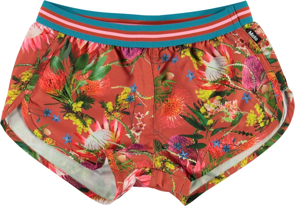 Niva - Australian Flowers - UV swim trunks with flower print