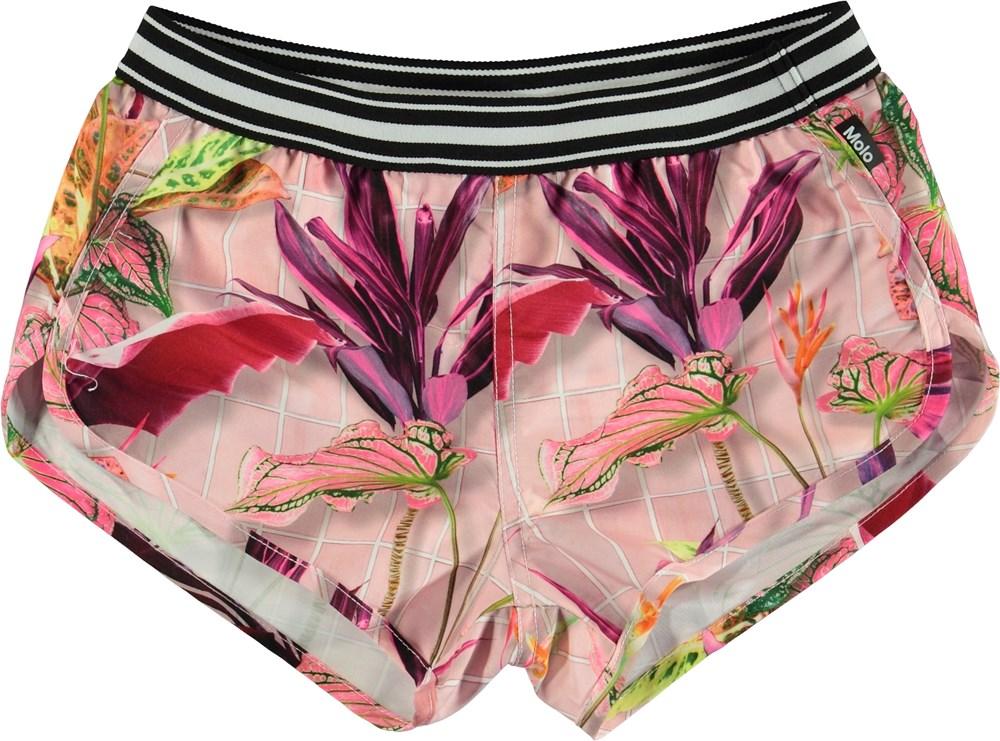 Niva - Tiles - Pink UV swim trunks with flower print