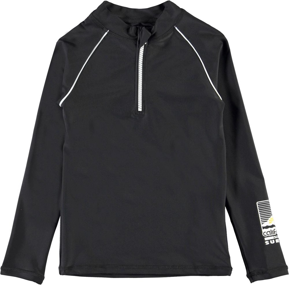 Noble - Black - UV black rashguard with zipper