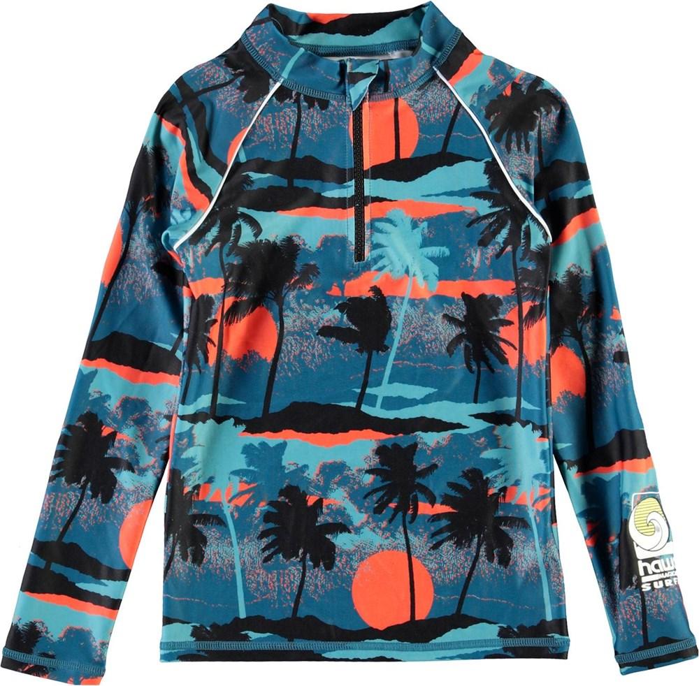 Noble - Palm Trees Blue - UV rashguard with zipper and palm trees