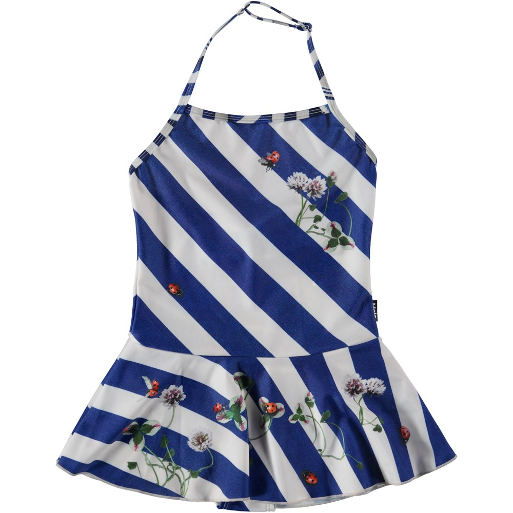 Noelle - Clover On Stripe - Swimsuit with clover and skirt.