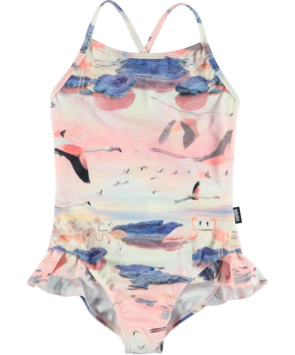 Noona - Flamingo - Swimsuit with ruffles and flamingos.