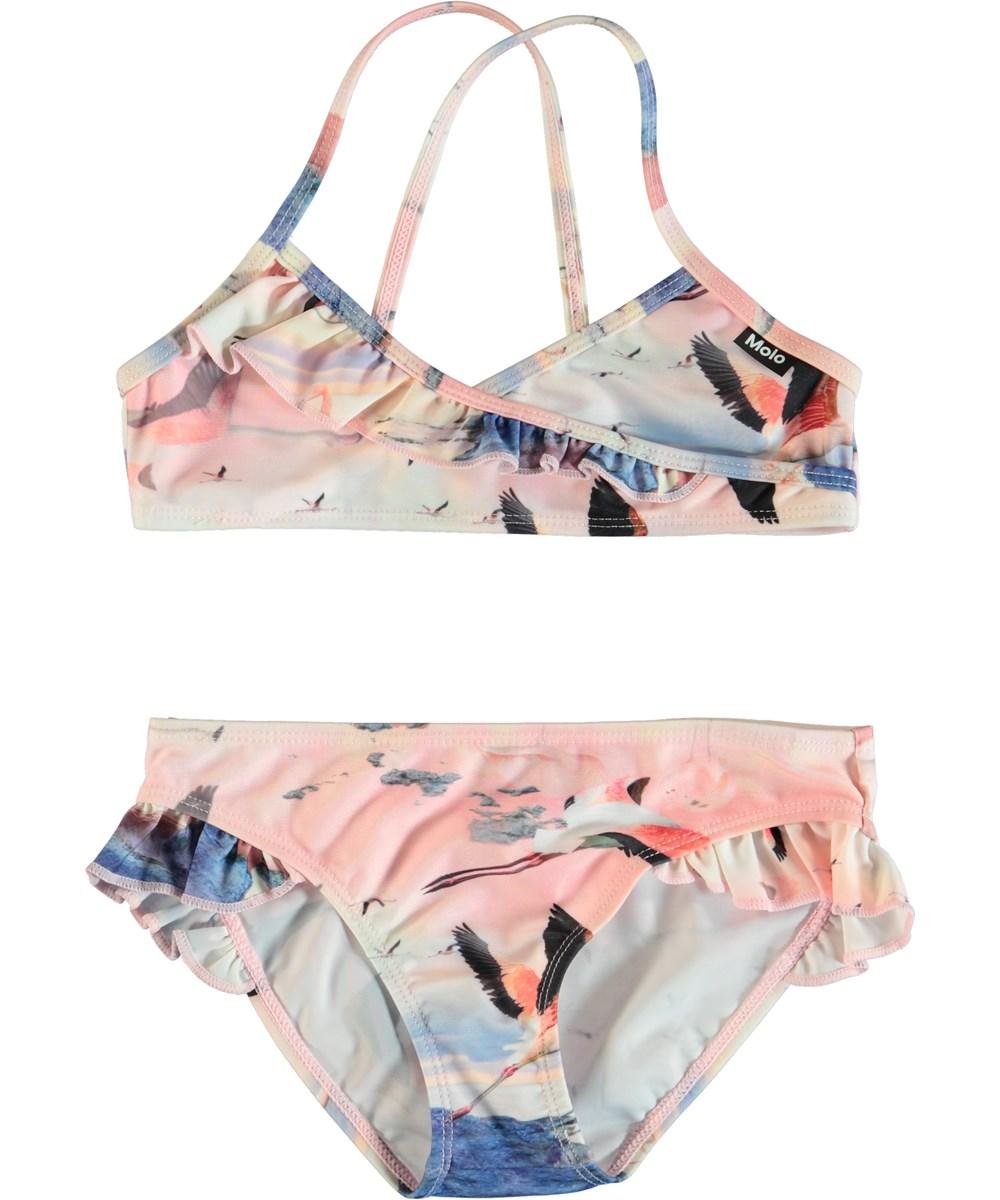 Norma - Flamingo - Pink bikini with ruffles.