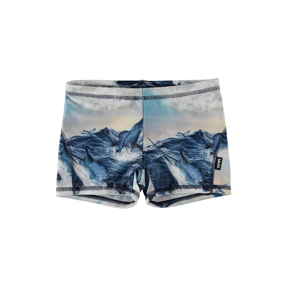 Norton - Jumping Svordfish - Swim trunks with jumping swordfish.