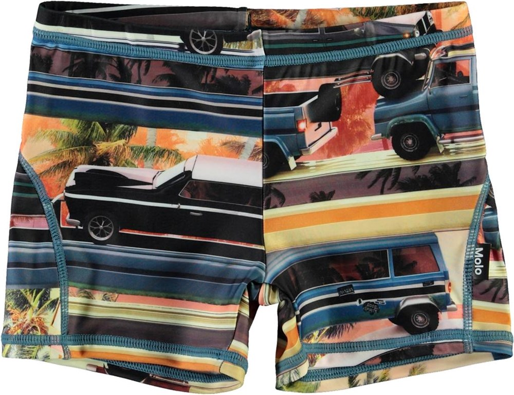 Norton - Mobile Molo - Short UV swim trunks with cars