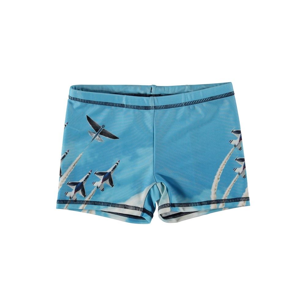 Norton Placed - Air Show - Short swim trunks with an airplane