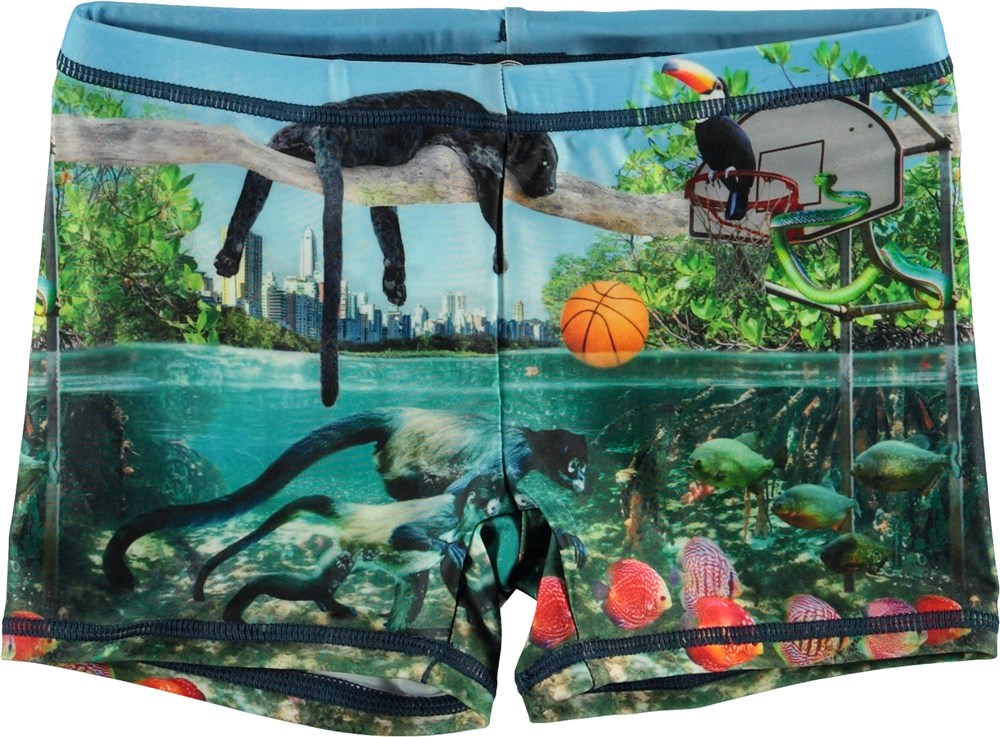 Norton Placed - Jungle Fever - UV swim trunks with wild animals